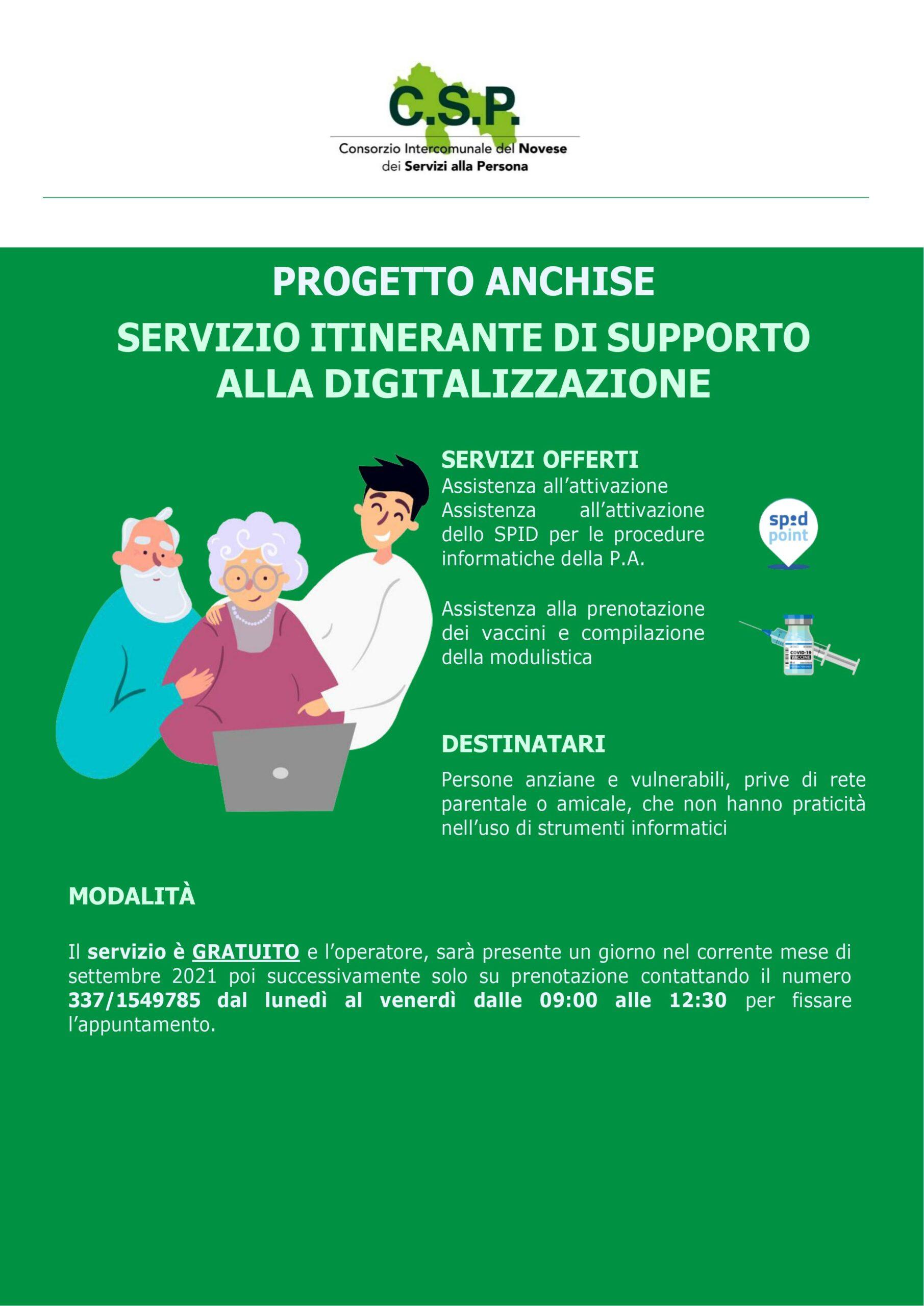 Progetto ANCHISE – Servizio itinerante di supporto alla digitalizzazione